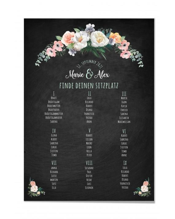 """Tischplan Hochzeit """" Vintage Flowers"""""""