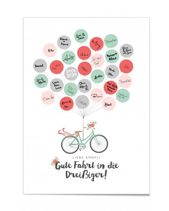 Gästebuch-Poster Fahrrad Mint