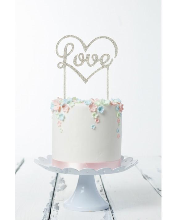 """Cake Topper """"Love"""" silber"""