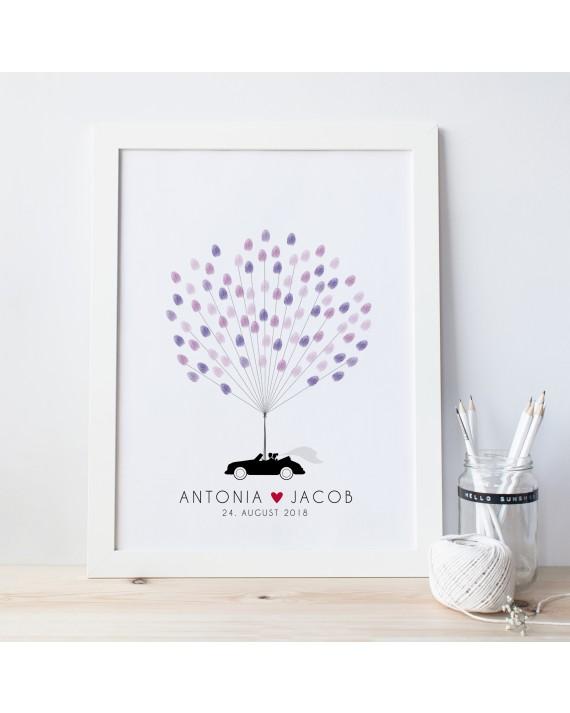 Fingerprint-Poster mit Hochzeitsauto