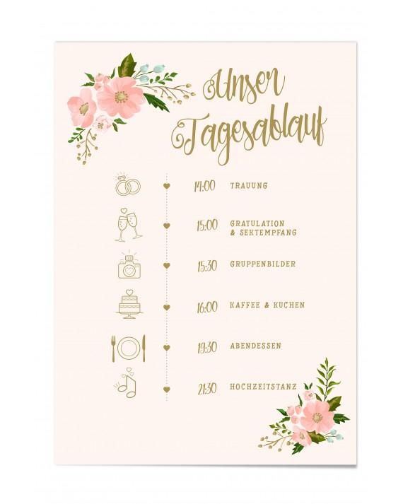 """Ablaufplan Hochzeit """"Gold-Peach"""""""