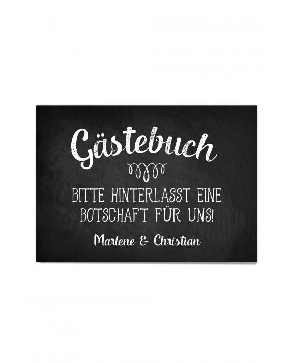"Gästebuch Hinweis Poster ""Vintage Tafel"""