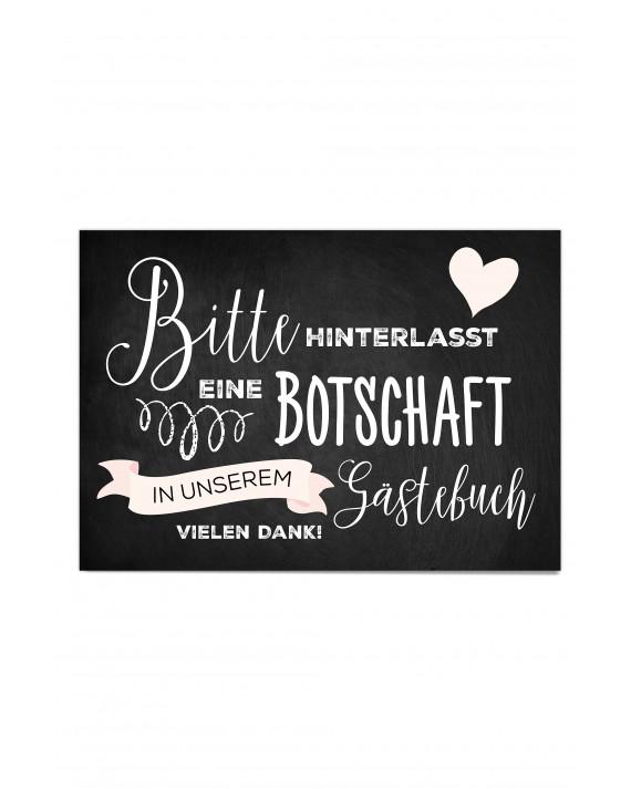 "Gästebuch Hinweis Poster ""Tafel Rosé"""