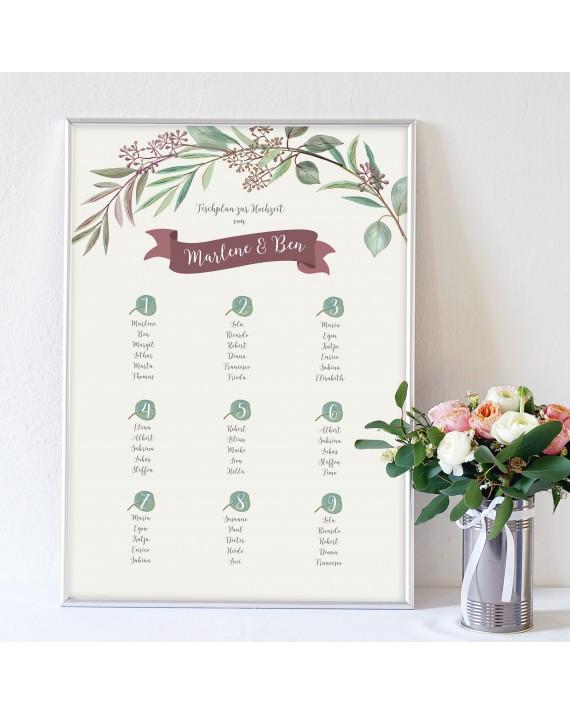 """Tischplan zur Hochzeit """"Eukalyptus"""""""