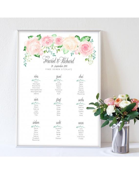 """Tischplan zur Hochzeit """"Rose"""""""