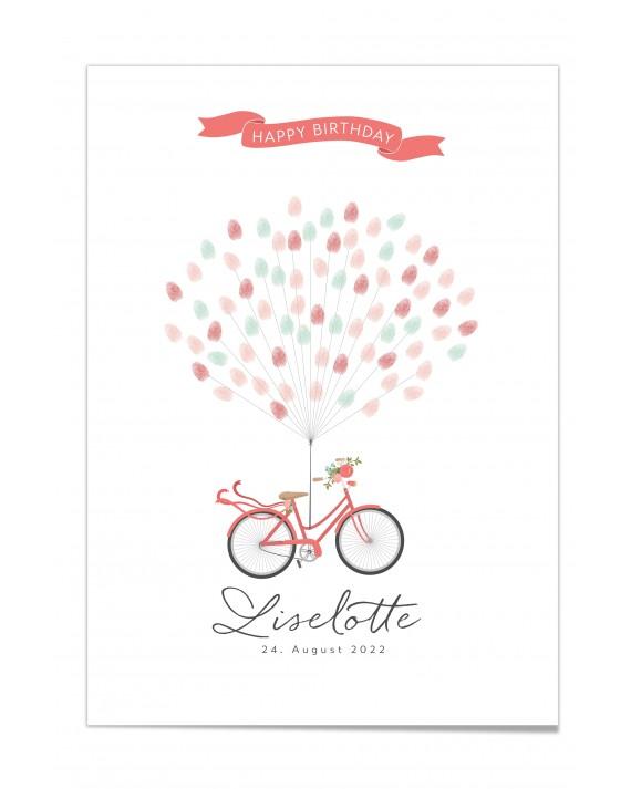 Fingerprint-Poster Fahrrad mit Blumen