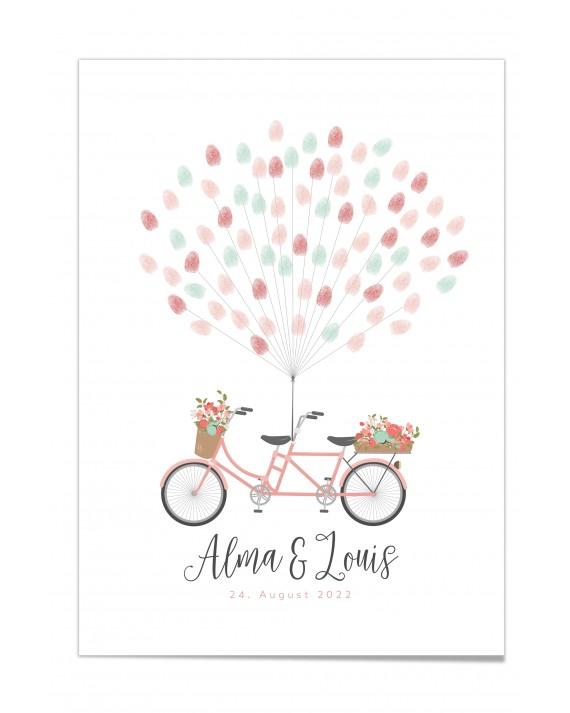 Fingerprint-Poster Tandem mit Blumen