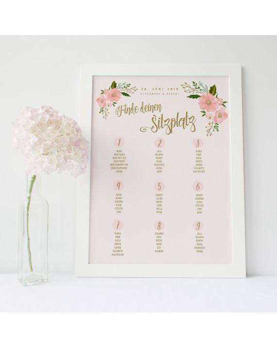 Tischplan zur Hochzeit Gold-Peach