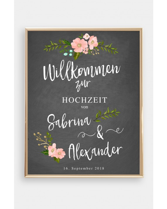 Willkommen Poster Chalkboard