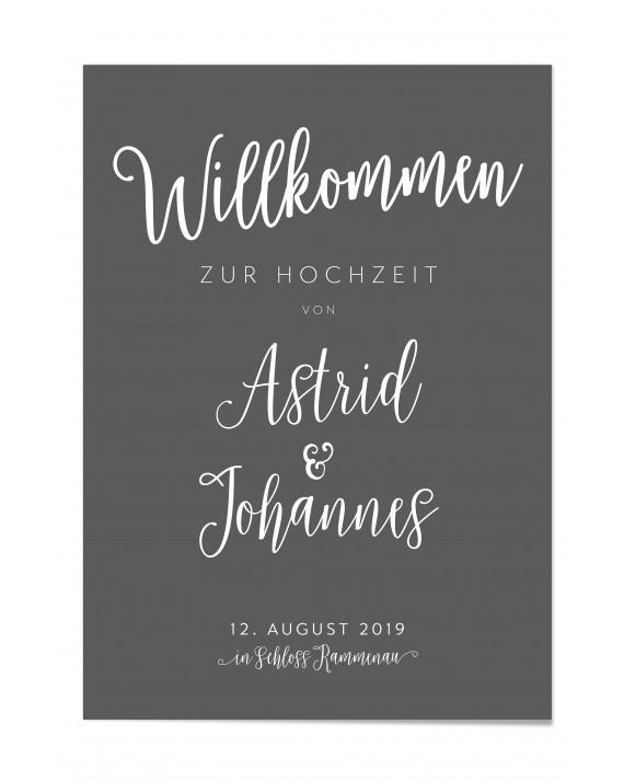 """Willkommen Poster """"Grey"""""""