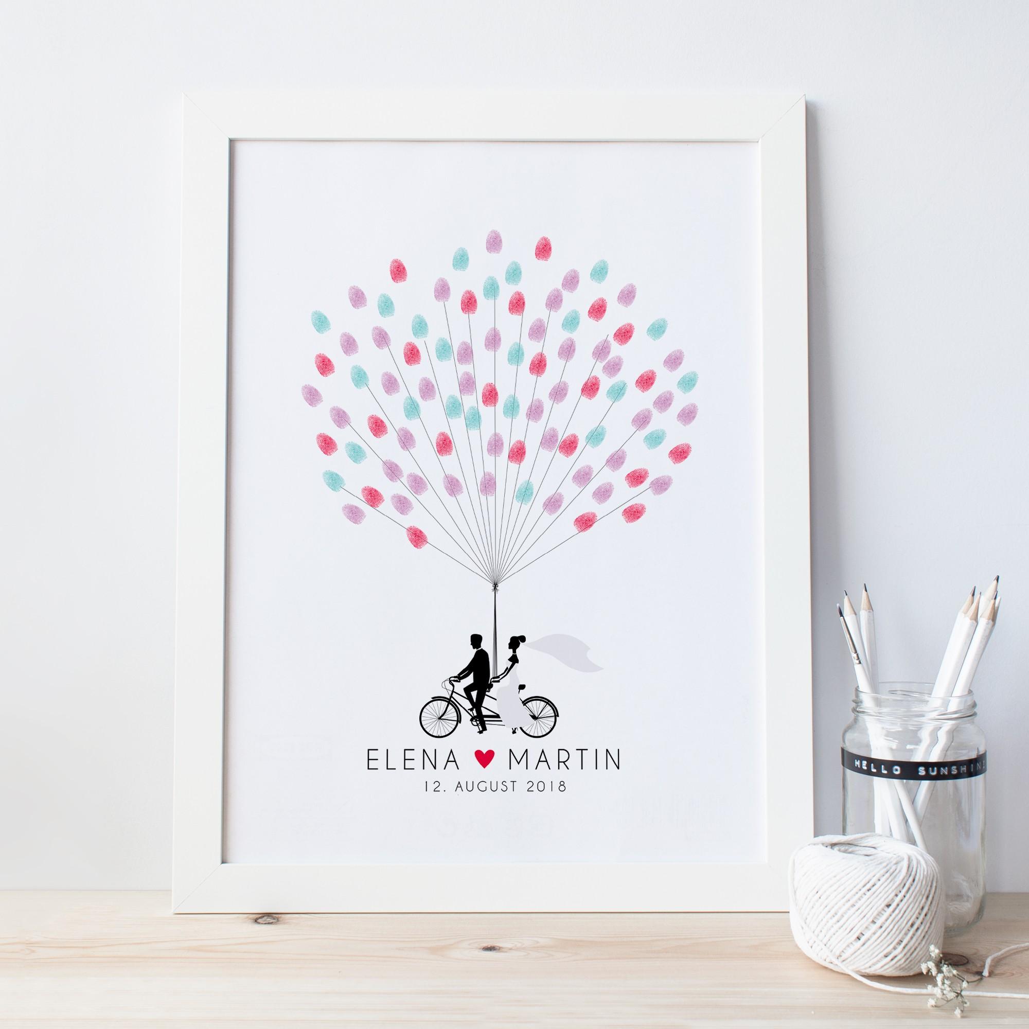 Fingerprint Poster Zur Hochzeit Design Grusskarten