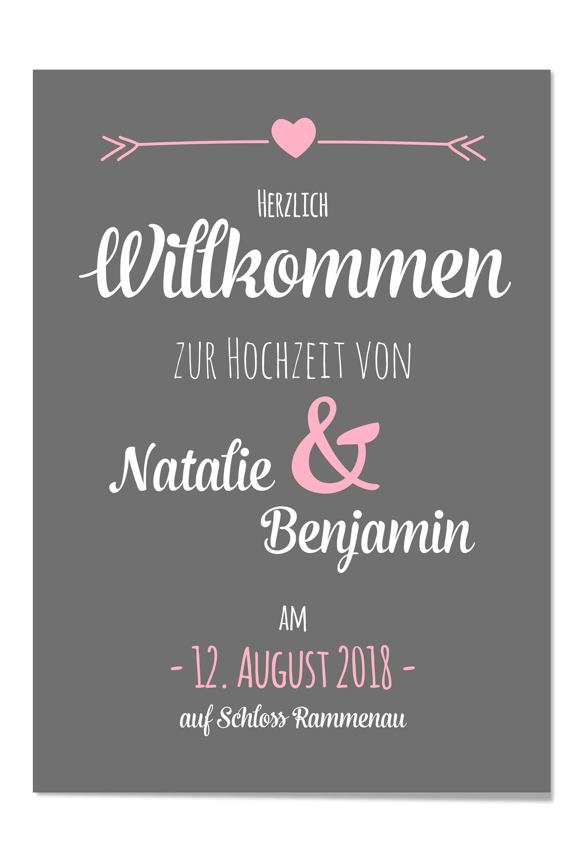 Willkommen Poster Zur Hochzeit Design Grusskarten
