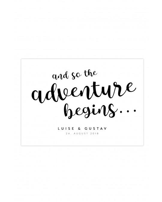 """Zitat Poster """"Adventure - Monochchrom"""""""