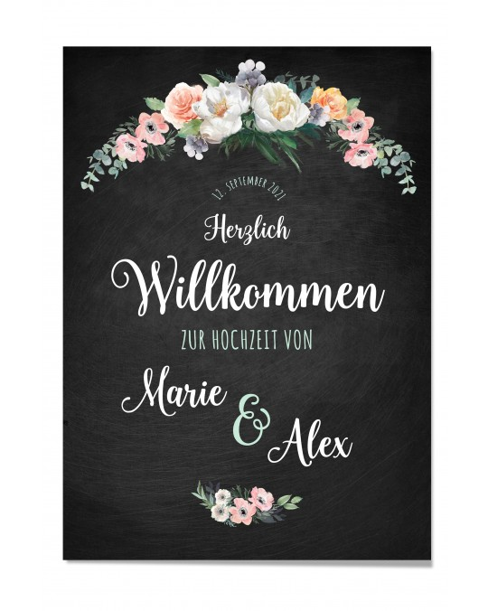 "Willkommen Poster ""Vintage Flowers"""