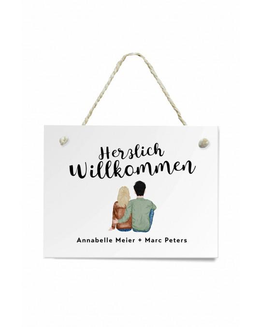 "Türschild ""Paar"" Willkommen"