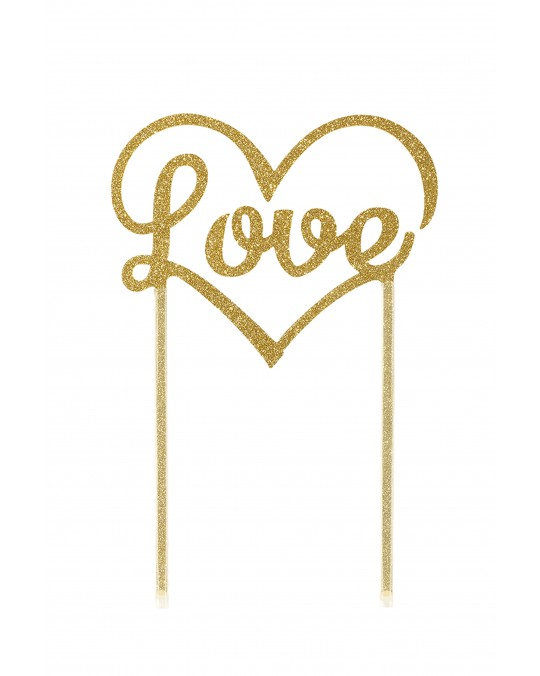 "Cake Topper ""Love"" gold"