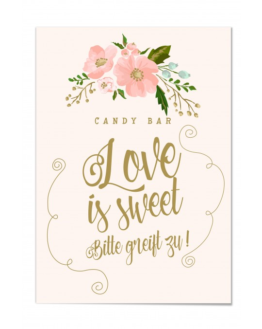 "Candy Bar Poster ""Gold-Peach"""