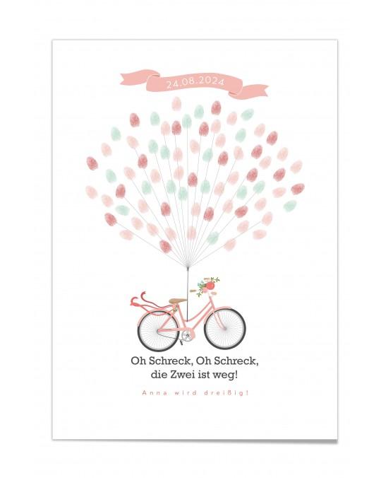 "Fingerprint-Poster ""Fahrrad mit Blumen Coralle"""