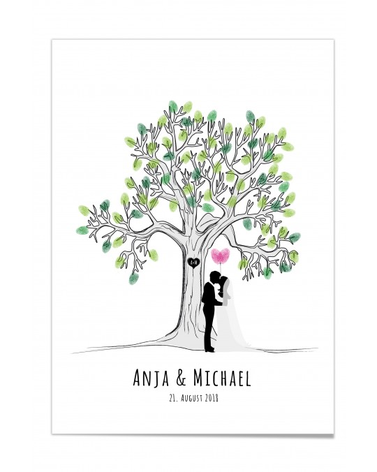 "Fingerprint-Poster ""Lovetree - Just married"""