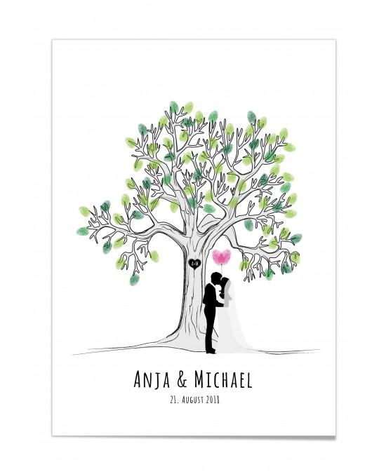 """Fingerprint-Poster """"Lovetree - Just married"""""""