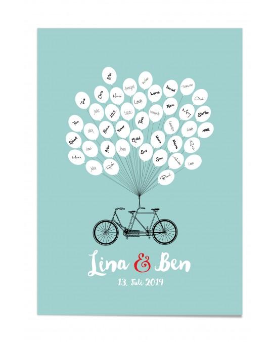 """Gästebuch-Poster """"Fahrrad-farbig"""""""