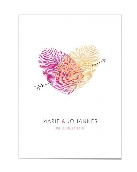 """Gästebuch-Poster """"Fingerprint Pink"""""""