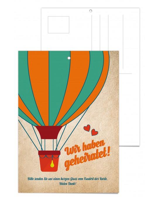 """Luftballonkarte """"Heißluftballon"""" 25 Stück"""