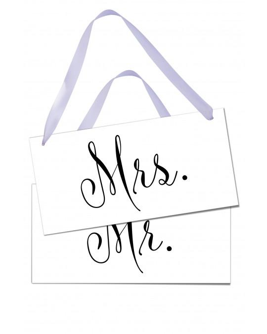 "Stuhlschilder-Set am Band ""Mrs. & Mr."""