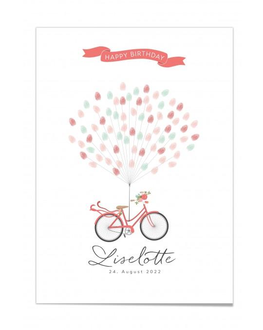 """Fingerprint-Poster """"Fahrrad mit Blumen Rot"""""""