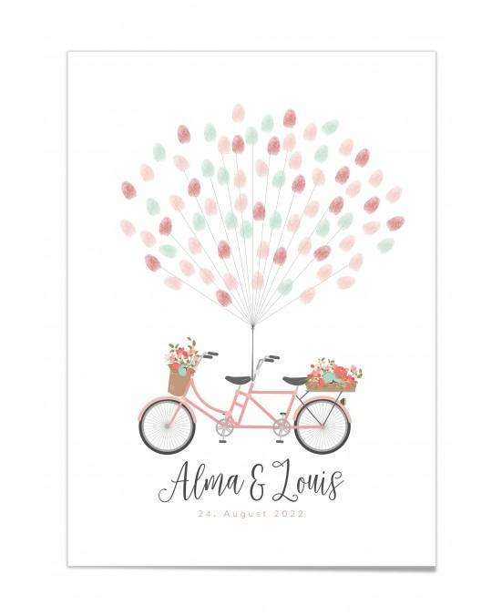 "Fingerprint-Poster ""Tandem mit Blumen Rosa"""