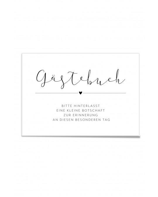 "Hinweis Poster ""Gästebuch Black & White"""
