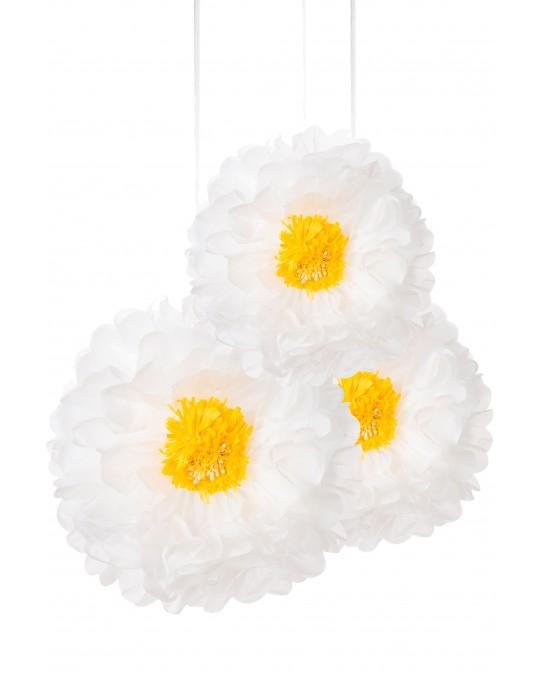 """Blumen Pom Poms """"Weiß"""""""