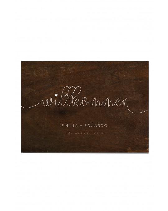 """Willkommen Poster """"Schlichtes Holz"""""""