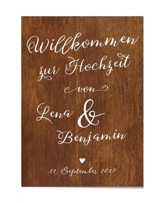 """Willkommen Poster """"Holzoptik"""""""