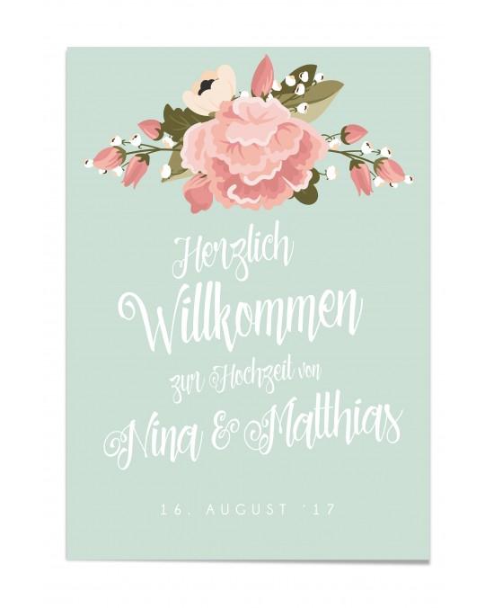 """Willkommen Poster """"Blumen"""""""