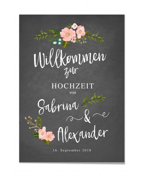"""Willkommen Poster """"Chalkboard"""""""