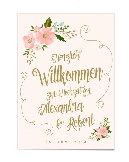"""Willkommen Poster """"Gold-Peach"""""""