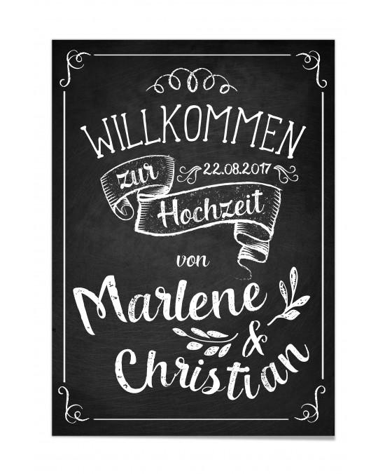 "Willkommen Poster ""Vintage Tafel"""