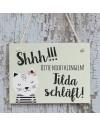 """Türschild """"Baby schläft"""" Katze Pastellgrün"""